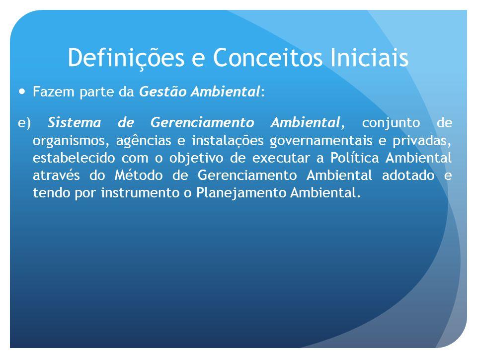 Definições e Conceitos Iniciais Fazem parte da Gestão Ambiental: e) Sistema de Gerenciamento Ambiental, conjunto de organismos, agências e instalações governamentais e privadas, estabelecido com o objetivo de executar a Política Ambiental através do Método de Gerenciamento Ambiental adotado e tendo por instrumento o Planejamento Ambiental.