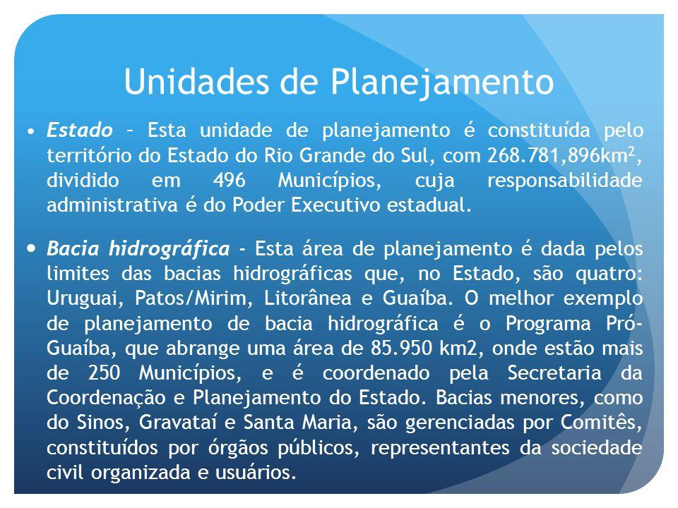 Unidades de Planejamento Estado – Esta unidade de planejamento é constituída pelo território do Estado do Rio Grande do Sul, com 268.781,896km 2, dividido em 496 Municípios, cuja responsabilidade administrativa é do Poder Executivo estadual.