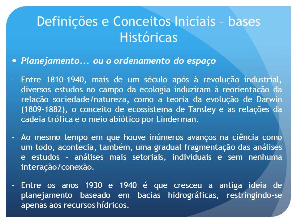 Definições e Conceitos Iniciais – bases Históricas Planejamento... ou o ordenamento do espaço -Entre 1810–1940, mais de um século após à revolução ind
