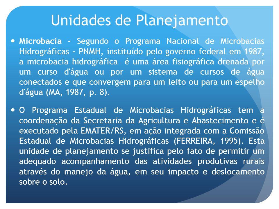Microbacia - Segundo o Programa Nacional de Microbacias Hidrográficas - PNMH, instituído pelo governo federal em 1987, a microbacia hidrográfica é uma área fisiográfica drenada por um curso d água ou por um sistema de cursos de água conectados e que convergem para um leito ou para um espelho d água (MA, 1987, p.