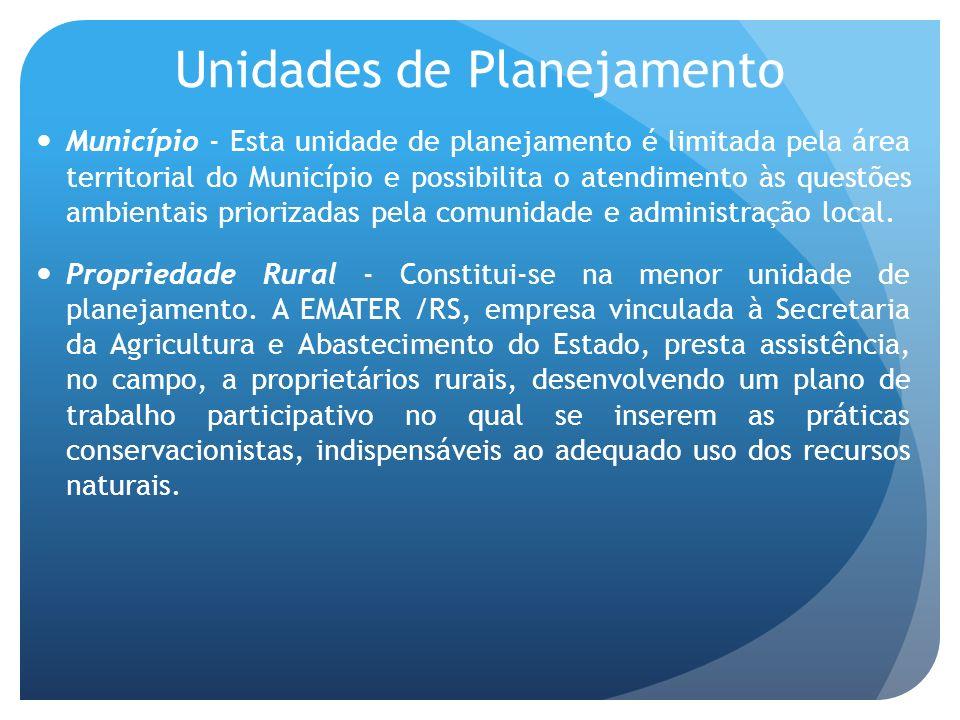Unidades de Planejamento Município - Esta unidade de planejamento é limitada pela área territorial do Município e possibilita o atendimento às questões ambientais priorizadas pela comunidade e administração local.