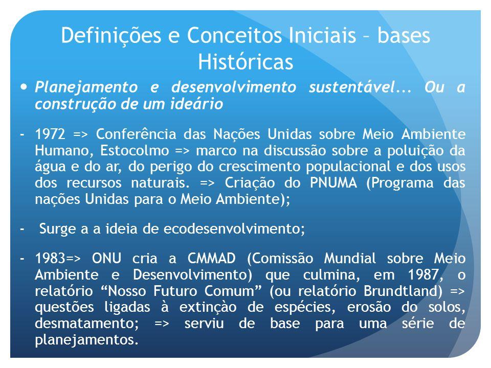 Definições e Conceitos Iniciais – bases Históricas Planejamento e desenvolvimento sustentável... Ou a construção de um ideário -1972 => Conferência da