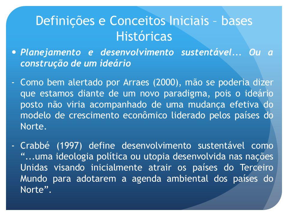 Definições e Conceitos Iniciais – bases Históricas Planejamento e desenvolvimento sustentável... Ou a construção de um ideário -Como bem alertado por