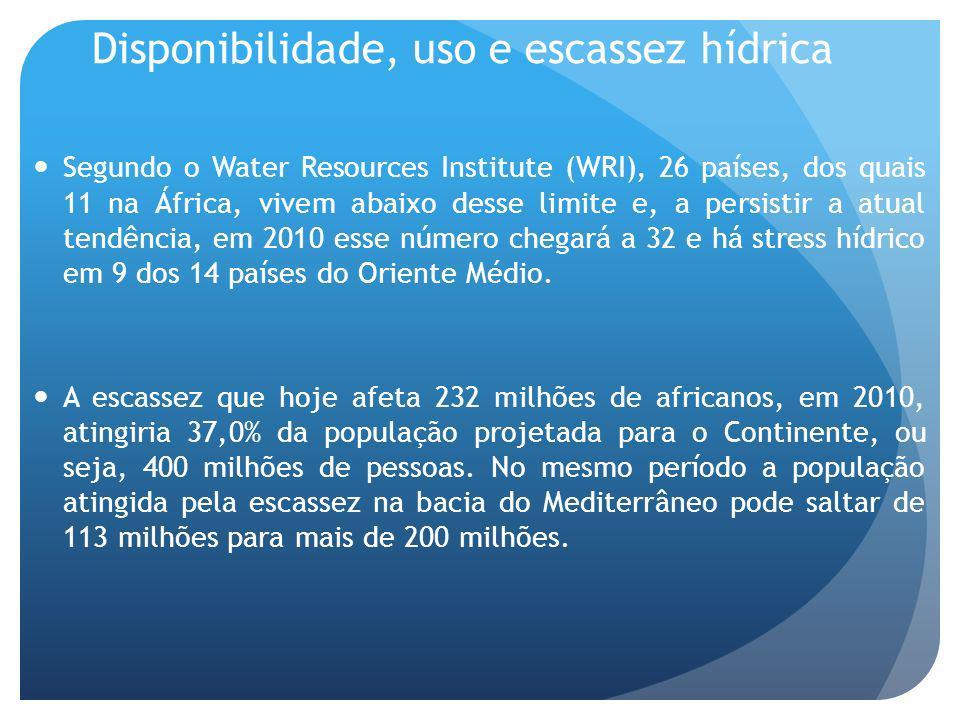 Disponibilidade, uso e escassez hídrica Segundo o Water Resources Institute (WRI), 26 países, dos quais 11 na África, vivem abaixo desse limite e, a persistir a atual tendência, em 2010 esse número chegará a 32 e há stress hídrico em 9 dos 14 países do Oriente Médio.