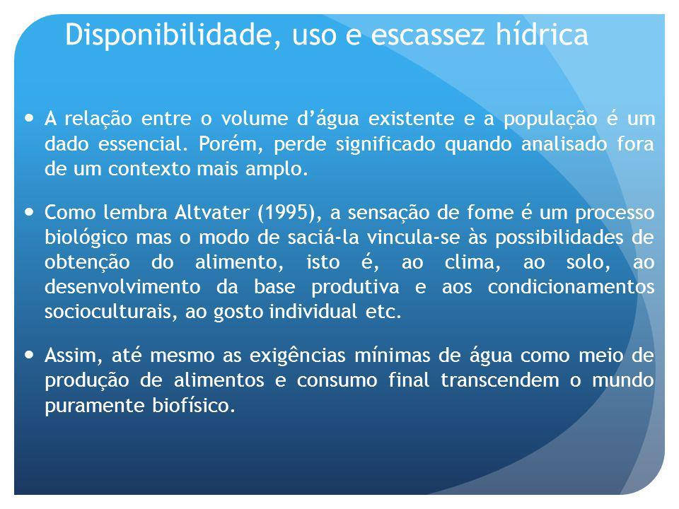 Disponibilidade, uso e escassez hídrica A relação entre o volume dágua existente e a população é um dado essencial.