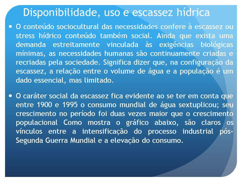 Disponibilidade, uso e escassez hídrica O conteúdo sociocultural das necessidades confere à escassez ou stress hídrico conteúdo também social. Ainda q