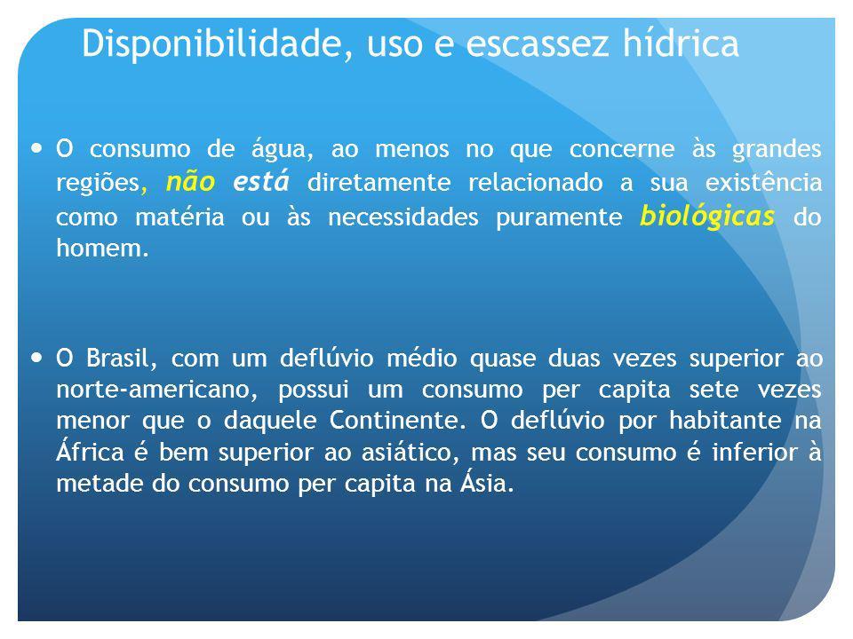 Disponibilidade, uso e escassez hídrica O consumo de água, ao menos no que concerne às grandes regiões, não está diretamente relacionado a sua existência como matéria ou às necessidades puramente biológicas do homem.