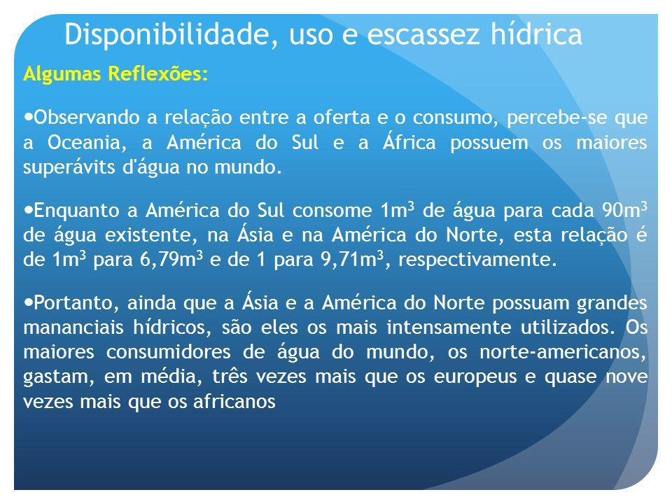 Disponibilidade, uso e escassez hídrica Algumas Reflexões: Observando a relação entre a oferta e o consumo, percebe-se que a Oceania, a América do Sul
