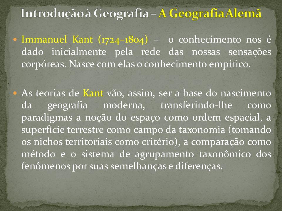Immanuel Kant (1724–1804) – o conhecimento nos é dado inicialmente pela rede das nossas sensações corpóreas.