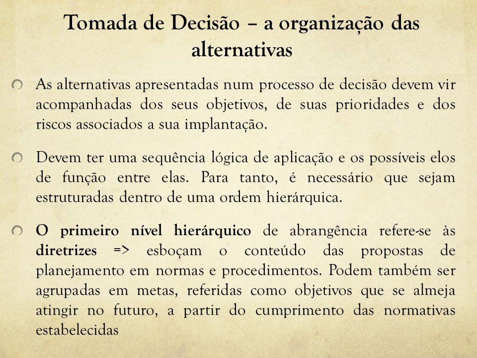 Tomada de Decisão – a organização das alternativas As alternativas apresentadas num processo de decisão devem vir acompanhadas dos seus objetivos, de