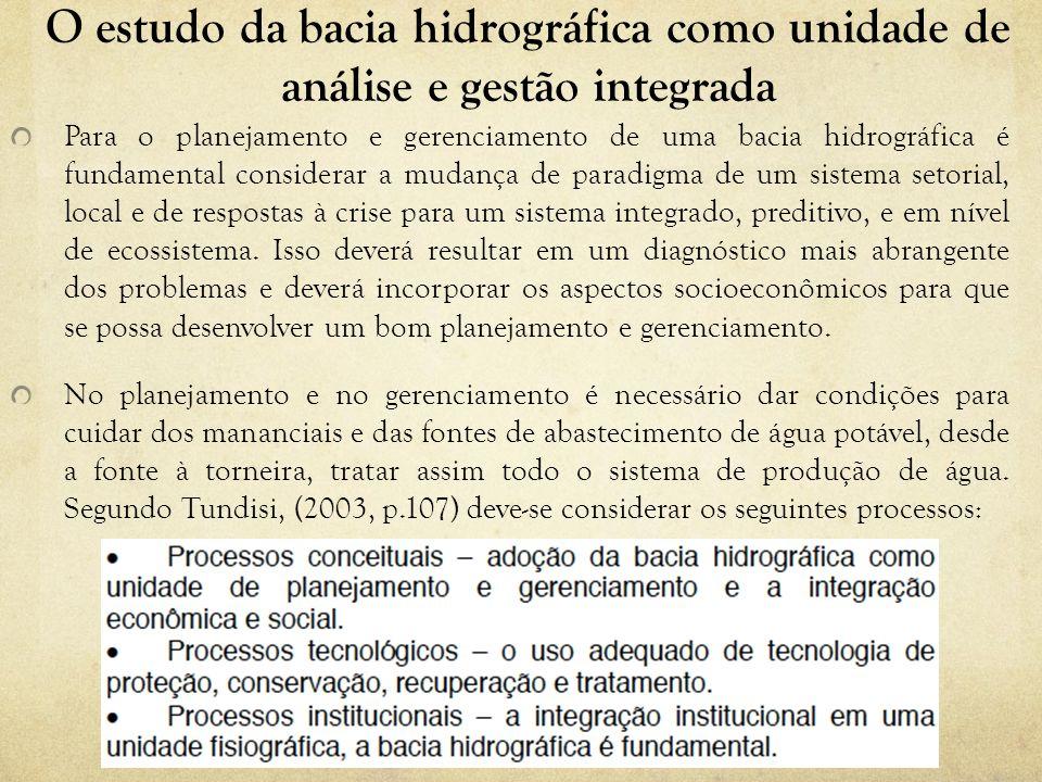 O estudo da bacia hidrográfica como unidade de análise e gestão integrada A bacia hidrográfica constitui um processo descentralizado de conservação e proteção ambiental, tornando-se um estímulo para a integração da comunidade e a integração institucional.