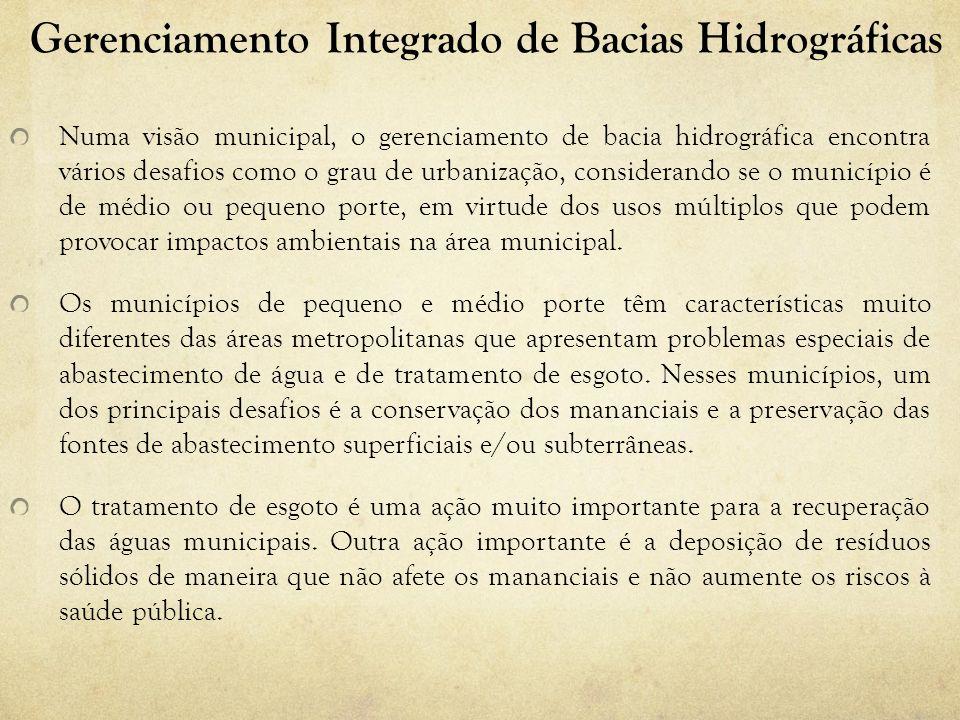 Gerenciamento Integrado de Bacias Hidrográficas Numa visão municipal, o gerenciamento de bacia hidrográfica encontra vários desafios como o grau de ur