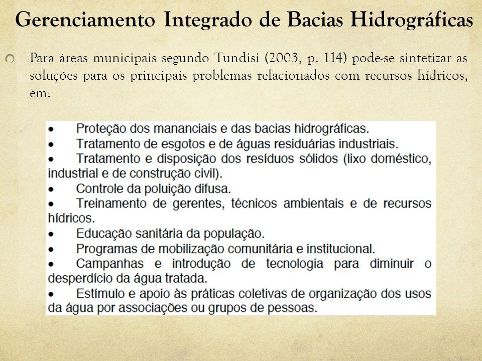 Gerenciamento Integrado de Bacias Hidrográficas Para áreas municipais segundo Tundisi (2003, p. 114) pode-se sintetizar as soluções para os principais
