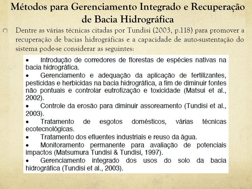 Métodos para Gerenciamento Integrado e Recuperação de Bacia Hidrográfica Dentre as várias técnicas citadas por Tundisi (2003, p.118) para promover a r
