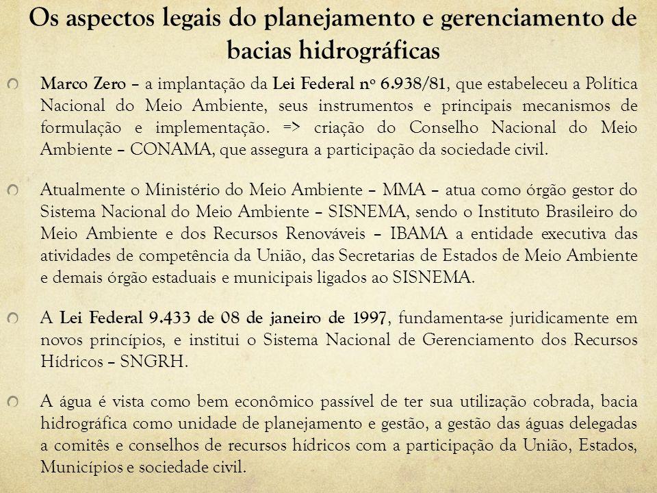 Os aspectos legais do planejamento e gerenciamento de bacias hidrográficas A criação da Agência Nacional das Águas – ANA, em 2000, veio consolidar o esforço governamental do Estado brasileiro e a organização do Poder Executivo Federal para a implantação da Lei das Águas e para efetivar seus princípios.