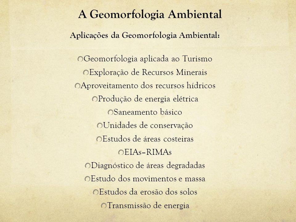 A Geomorfologia Ambiental Aplicações da Geomorfologia Ambiental: Geomorfologia aplicada ao Turismo Exploração de Recursos Minerais Aproveitamento dos