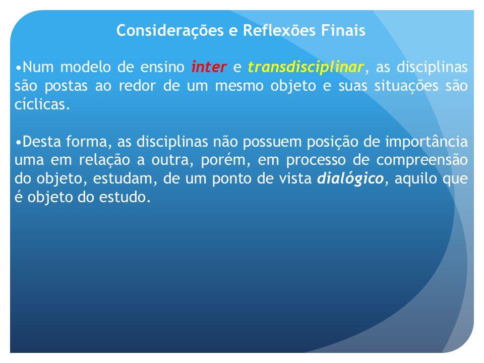 Considerações e Reflexões Finais Num modelo de ensino inter e transdisciplinar, as disciplinas são postas ao redor de um mesmo objeto e suas situações