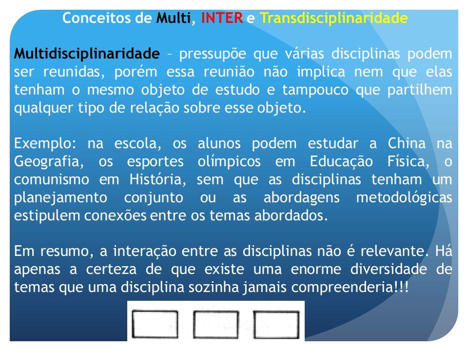 Conceitos de Multi, INTER e Transdisciplinaridade Multidisciplinaridade – pressupõe que várias disciplinas podem ser reunidas, porém essa reunião não