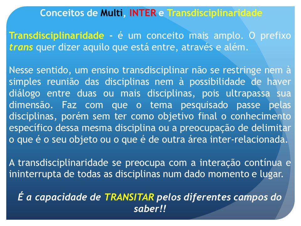 Conceitos de Multi, INTER e Transdisciplinaridade Transdisciplinaridade - é um conceito mais amplo. O prefixo trans quer dizer aquilo que está entre,