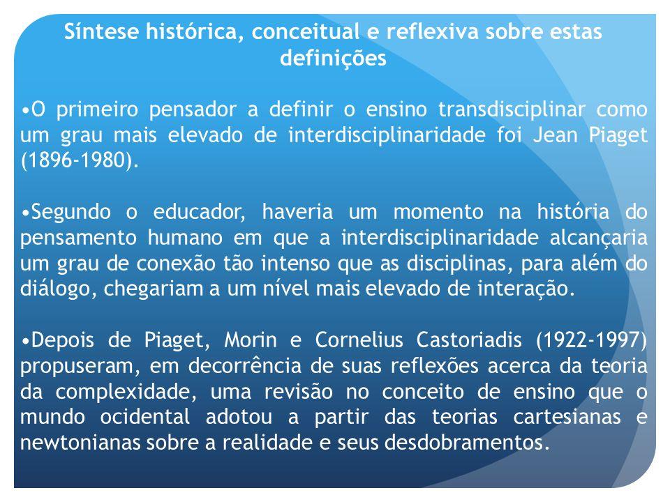 Síntese histórica, conceitual e reflexiva sobre estas definições O primeiro pensador a definir o ensino transdisciplinar como um grau mais elevado de