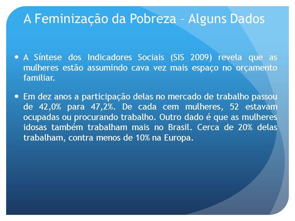 A Feminização da Pobreza – Alguns Dados A Síntese dos Indicadores Sociais (SIS 2009) revela que as mulheres estão assumindo cava vez mais espaço no or
