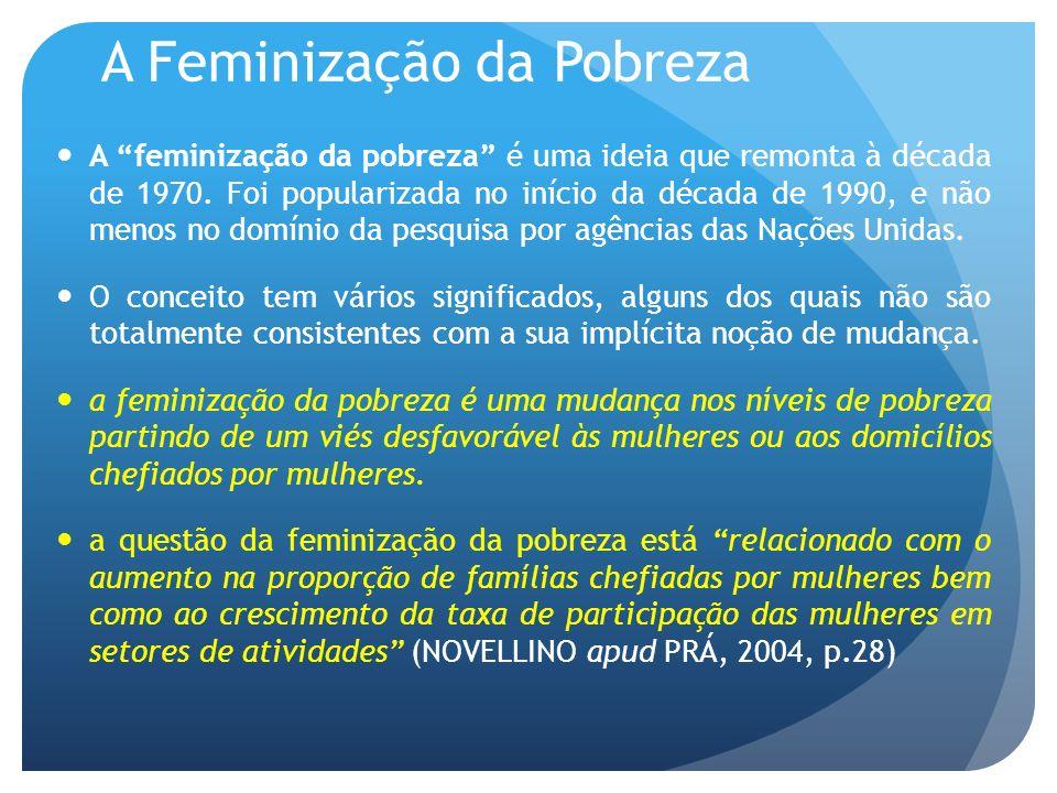A Feminização da Pobreza A feminização da pobreza é uma ideia que remonta à década de 1970. Foi popularizada no início da década de 1990, e não menos