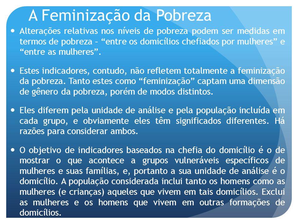 A Feminização da Pobreza Alterações relativas nos níveis de pobreza podem ser medidas em termos de pobreza – entre os domicílios chefiados por mulhere