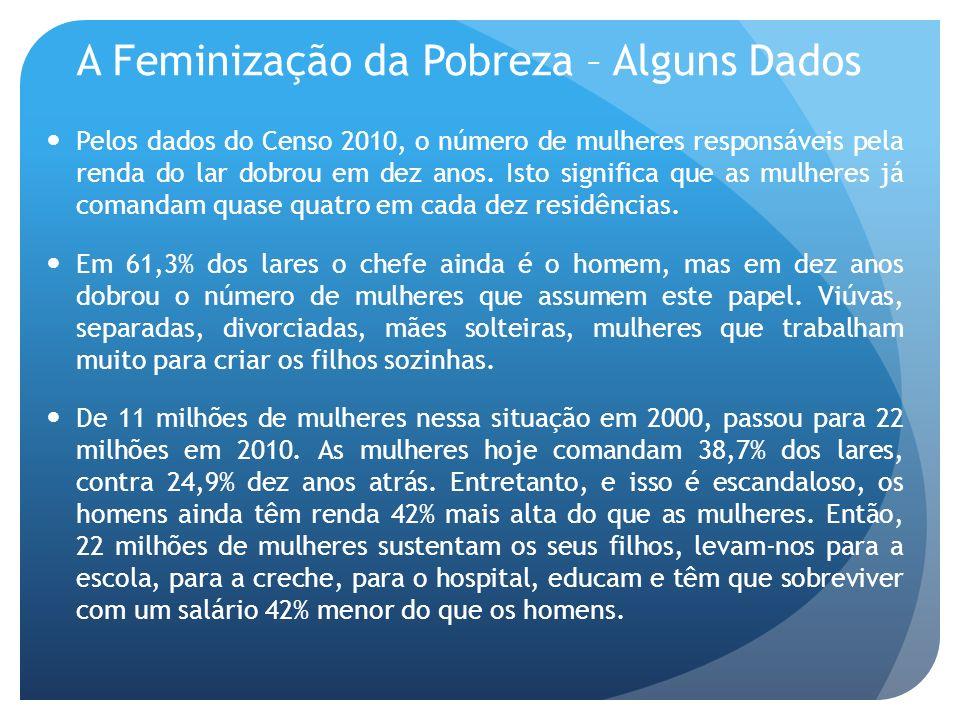 A Feminização da Pobreza – Alguns Dados Pelos dados do Censo 2010, o número de mulheres responsáveis pela renda do lar dobrou em dez anos. Isto signif