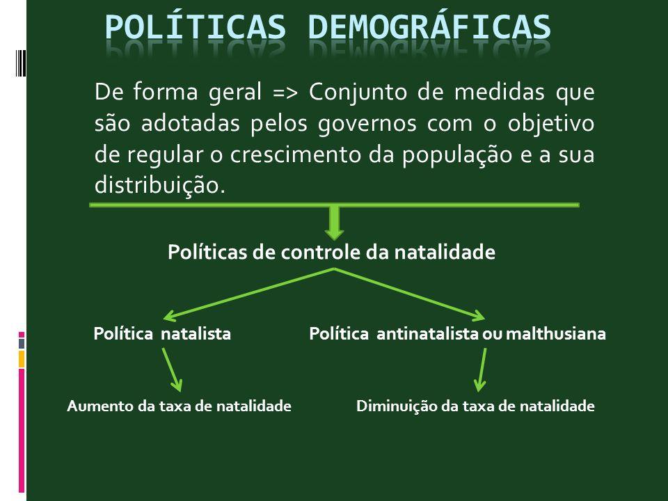 De forma geral => Conjunto de medidas que são adotadas pelos governos com o objetivo de regular o crescimento da população e a sua distribuição. Polít