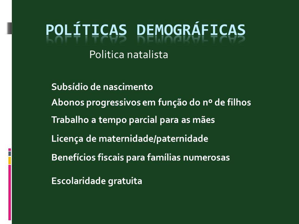 Politica natalista Subsídio de nascimento Abonos progressivos em função do nº de filhos Trabalho a tempo parcial para as mães Licença de maternidade/p