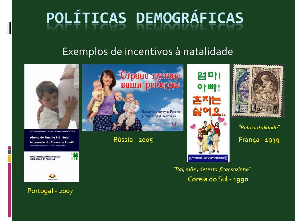 Exemplos de incentivos à natalidade Portugal - 2007 Rússia - 2005França - 1939 Coreia do Sul - 1990 Pela natalidade Pai, mãe, detesto ficar sozinho