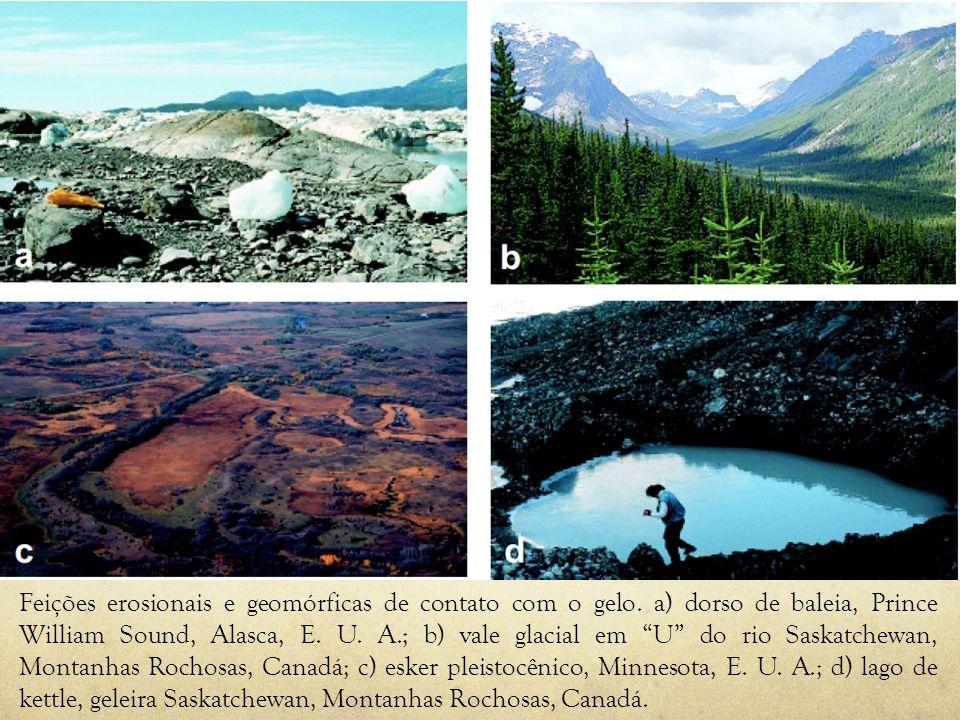 Feições erosionais e geomórficas de contato com o gelo. a) dorso de baleia, Prince William Sound, Alasca, E. U. A.; b) vale glacial em U do rio Saskat