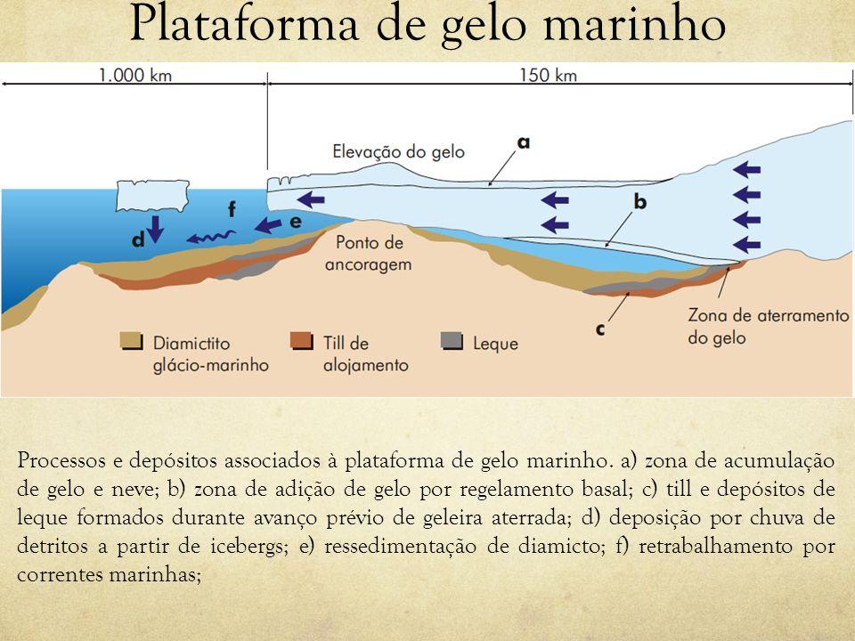 Plataforma de gelo marinho Processos e depósitos associados à plataforma de gelo marinho. a) zona de acumulação de gelo e neve; b) zona de adição de g