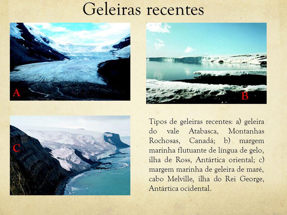 Geleiras recentes Tipos de geleiras recentes: a) geleira do vale Atabasca, Montanhas Rochosas, Canadá; b) margem marinha flutuante de língua de gelo,