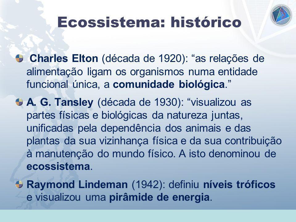 Universidade Federal do Esp Santo - UFES Ecossistema: histórico Charles Elton (década de 1920): as relações de alimentação ligam os organismos numa en
