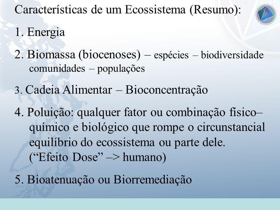 Universidade Federal do Esp Santo - UFES Características de um Ecossistema (Resumo): 1. Energia 2. Biomassa (biocenoses) – espécies – biodiversidade c