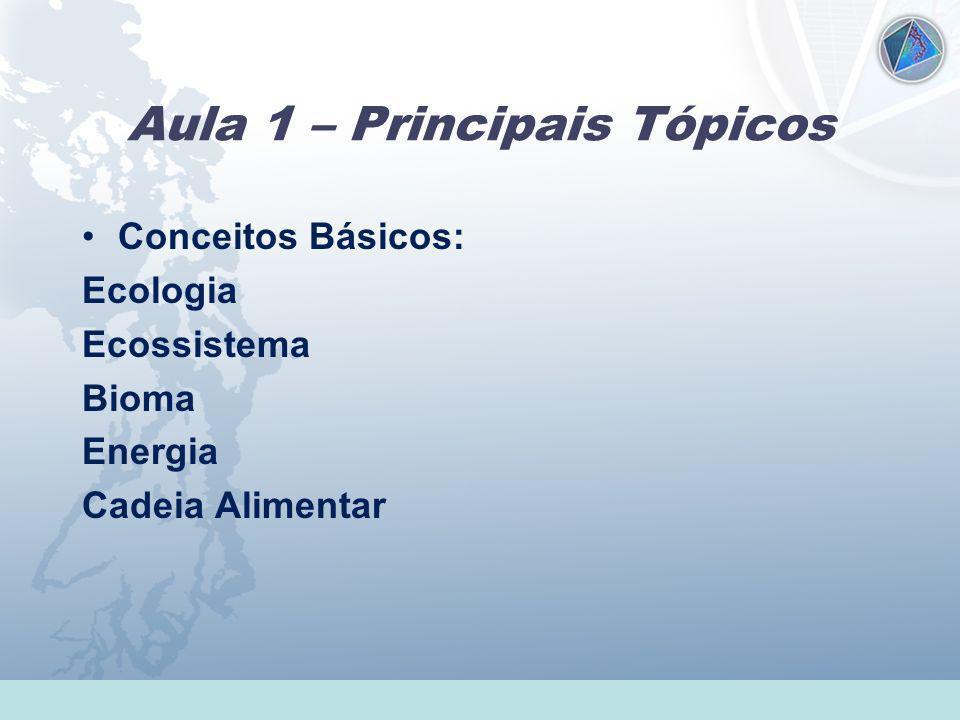 Universidade Federal do Esp Santo - UFES Aula 1 – Principais Tópicos Conceitos Básicos: Ecologia Ecossistema Bioma Energia Cadeia Alimentar