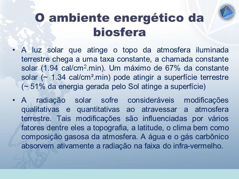 Universidade Federal do Esp Santo - UFES O ambiente energético da biosfera A luz solar que atinge o topo da atmosfera iluminada terrestre chega a uma