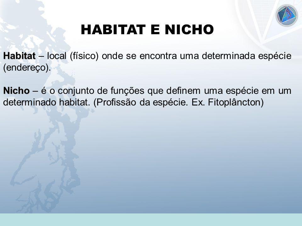Universidade Federal do Esp Santo - UFES HABITAT E NICHO Habitat Habitat – local (físico) onde se encontra uma determinada espécie (endereço). Nicho N