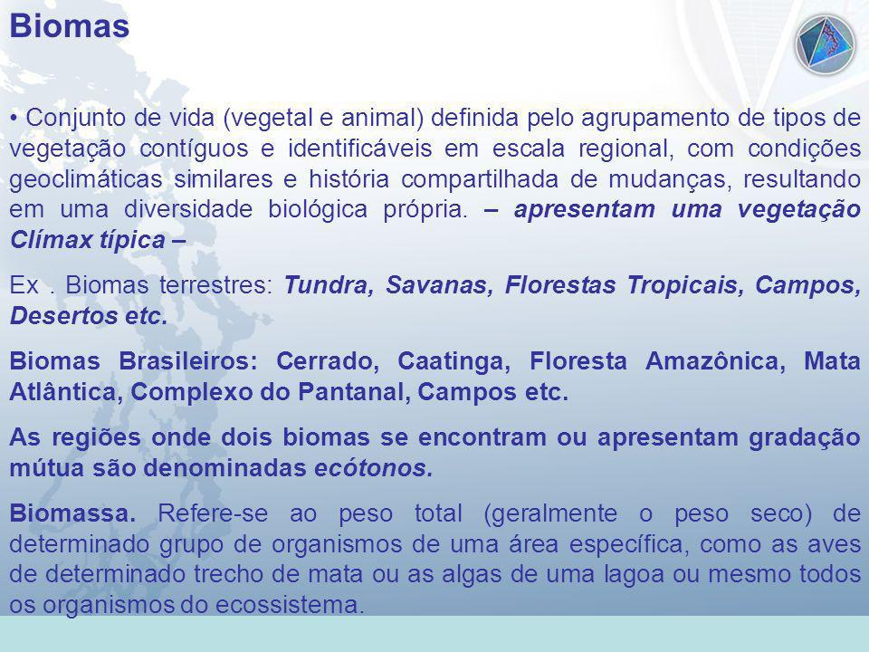 Universidade Federal do Esp Santo - UFES Biomas Conjunto de vida (vegetal e animal) definida pelo agrupamento de tipos de vegetação contíguos e identi