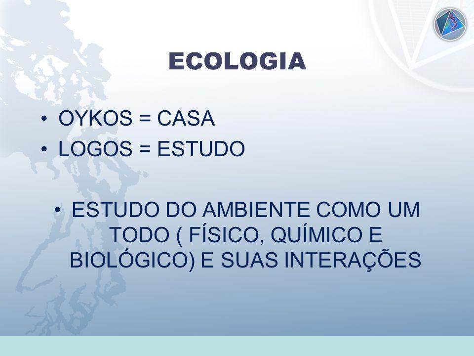 Universidade Federal do Esp Santo - UFES ECOLOGIA OYKOS = CASA LOGOS = ESTUDO ESTUDO DO AMBIENTE COMO UM TODO ( FÍSICO, QUÍMICO E BIOLÓGICO) E SUAS IN