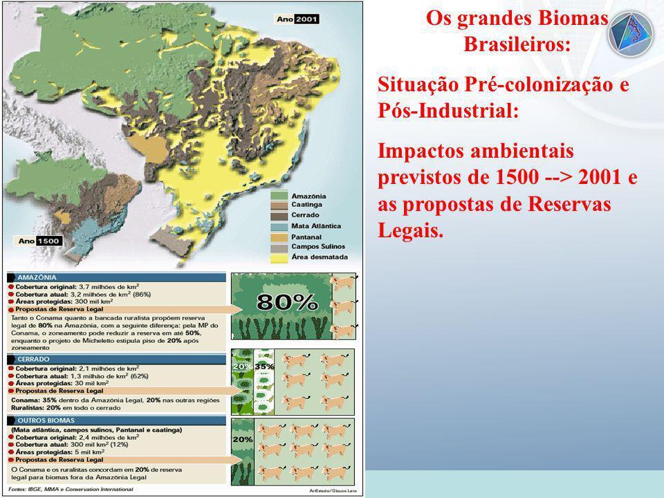 Universidade Federal do Esp Santo - UFES Os grandes Biomas Brasileiros: Situação Pré-colonização e Pós-Industrial: Impactos ambientais previstos de 15