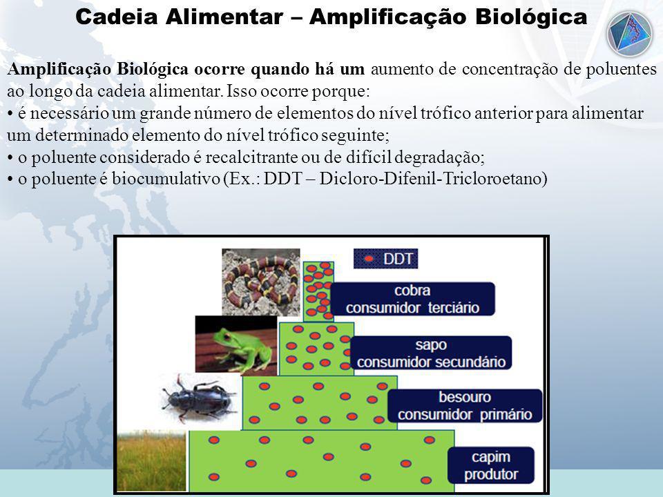 Cadeia Alimentar – Amplificação Biológica Amplificação Biológica ocorre quando há um aumento de concentração de poluentes ao longo da cadeia alimentar