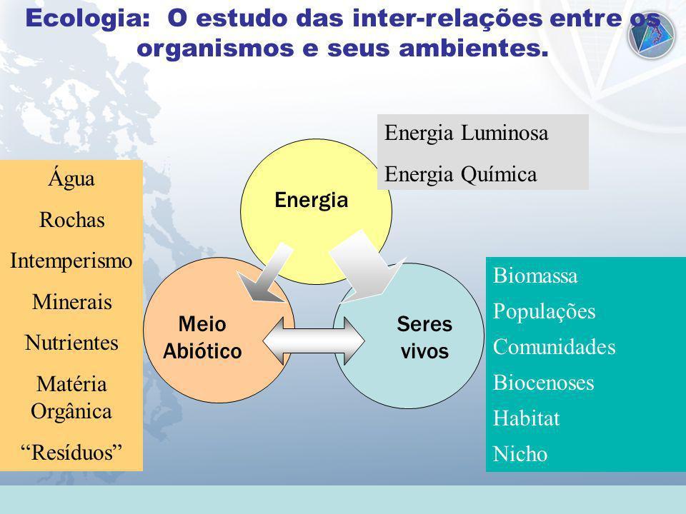 Ecologia: O estudo das inter-relações entre os organismos e seus ambientes. Energia Seres vivos Meio Abiótico Biomassa Populações Comunidades Biocenos