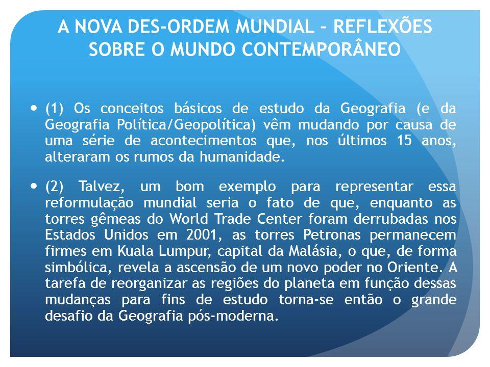 A NOVA DES-ORDEM MUNDIAL – REFLEXÕES SOBRE O MUNDO CONTEMPORÂNEO (1) Os conceitos básicos de estudo da Geografia (e da Geografia Política/Geopolítica)