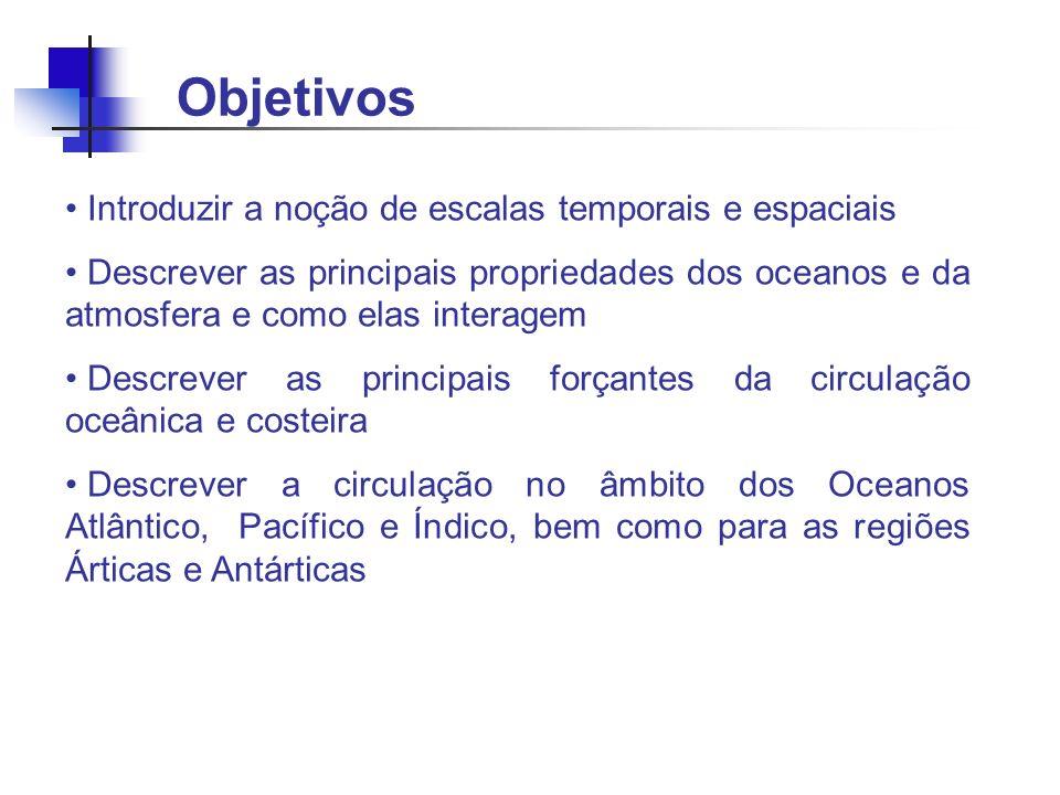 Objetivos Introduzir a noção de escalas temporais e espaciais Descrever as principais propriedades dos oceanos e da atmosfera e como elas interagem De