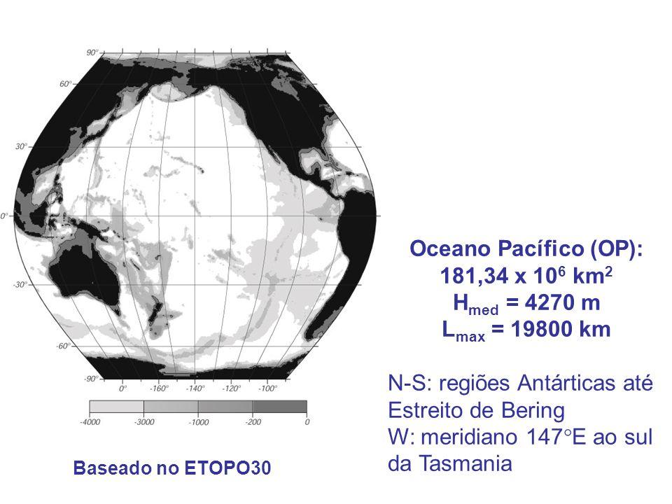 Oceano Pacífico (OP): 181,34 x 10 6 km 2 H med = 4270 m L max = 19800 km N-S: regiões Antárticas até Estreito de Bering W: meridiano 147 E ao sul da T