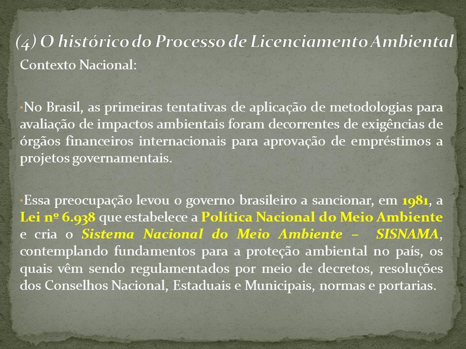 Contexto Nacional: No Brasil, as primeiras tentativas de aplicação de metodologias para avaliação de impactos ambientais foram decorrentes de exigênci
