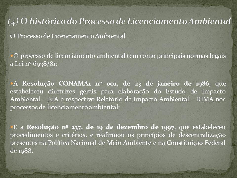 O Processo de Licenciamento Ambiental O processo de licenciamento ambiental tem como principais normas legais a Lei nº 6938/81; A Resolução CONAMA1 nº