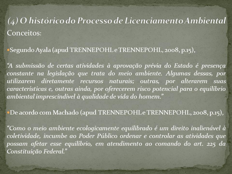 Conceitos : Segundo Ayala (apud TRENNEPOHL e TRENNEPOHL, 2008, p.15), A submissão de certas atividades à aprovação prévia do Estado é presença constan